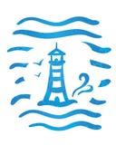 Nakreślenie pasiasta latarnia morska i morze macha ilustracja wektor