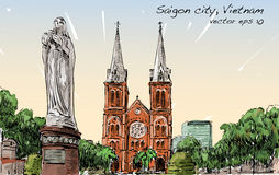 Nakreślenie pejzaż miejski Ho Chi Minh miasta przedstawienia Saigon Notre-Dame kot royalty ilustracja