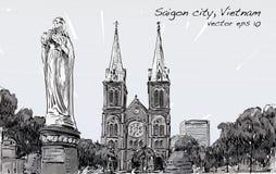 Nakreślenie pejzaż miejski Ho Chi Minh miasta przedstawienia Saigon Notre-Dame kot Obrazy Stock