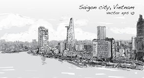 Nakreślenie pejzaż miejski Saigon miasta Chi Mihn Wietnam przedstawienia niebo Ho Zdjęcia Royalty Free