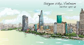 Nakreślenie pejzaż miejski Saigon miasta Chi Mihn Wietnam przedstawienia niebo Ho ilustracja wektor