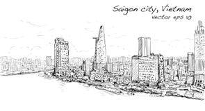 Nakreślenie pejzaż miejski Saigon miasta Chi Mihn Wietnam przedstawienia niebo Ho royalty ilustracja