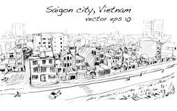 Nakreślenie pejzaż miejski Saigon miasta Chi Mihn Wietnam przedstawienia niebo Ho Fotografia Stock