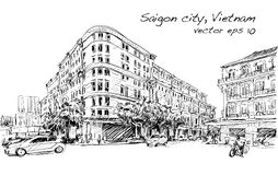 Nakreślenie pejzaż miejski Saigon miasta Ho Chi Minh przedstawienia zjednoczenia kwadrat Zdjęcia Stock