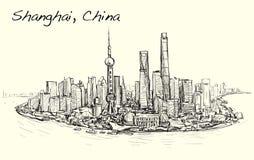 Nakreślenie pejzaż miejski Szanghaj linii horyzontu wolnej ręki remisu ilustracja Fotografia Royalty Free