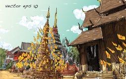 Nakreślenie pejzaż miejski Tajlandzki świątynny przedstawienia Asia styl, ilustracja ve Obraz Stock