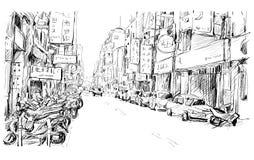 Nakreślenie pejzaż miejski w Tajwańskiego przedstawienia widoku miastowym ulicznym rynku Obrazy Royalty Free