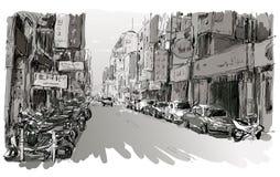 Nakreślenie pejzaż miejski w Tajwańskiego przedstawienia widoku miastowym ulicznym rynku Fotografia Stock