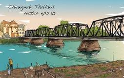 Nakreślenie pejzażu miejskiego przedstawienia żelaza most w Chiangmai Tajlandia Obrazy Royalty Free