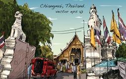 Nakreślenie pejzażu miejskiego przedstawienia Asia stylu świątyni przestrzeń w Tajlandia, il Zdjęcia Royalty Free