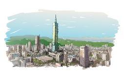 Nakreślenie pejzażu miejskiego przedstawienia townscape w Tajwan, Taipei budynek Obraz Stock