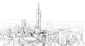 Nakreślenie pejzażu miejskiego przedstawienia townscape w Tajwan, Taipei budynek Obrazy Stock