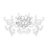 Nakreślenie piękni lotuses w pełen wdzięku ornamencie na białym tle Zdjęcia Stock