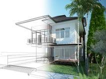 Nakreślenie projekt dom Obrazy Royalty Free