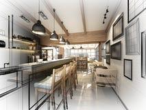 Nakreślenie projekt sklep z kawą ilustracja wektor