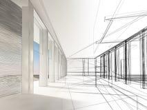 Nakreślenie projekt wewnętrzna sala Zdjęcie Royalty Free