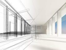 Nakreślenie projekt wewnętrzna sala Obrazy Royalty Free