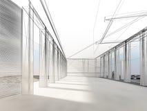 Nakreślenie projekt wewnętrzna sala Obraz Stock