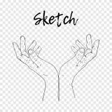 Nakreślenie ręka błaga ręki tło ilustraci linia śniegu lampasów wektor ilustracji