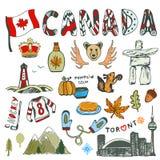 Nakreślenie ręka rysująca kolekcja Kanada symbole Kanadyjska kultura kreślił set Wektorowa podróży ilustracja z doodle letterin Zdjęcia Stock