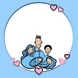 Nakreślenie ramy ręki remisu rodziców Rodzinnych dzieciaków kształta Kierowa miłość Zdjęcia Stock