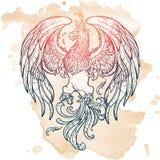 Nakreślenie rysunek Phoenix odizolowywał na grunge tle Zdjęcie Stock