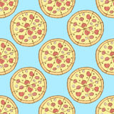 Nakreślenie smakowita pizza w rocznika stylu royalty ilustracja