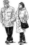 Nakreślenie starsi ludzi iść dla przespacerowania ilustracja wektor