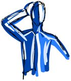 nakreślenie Stylizowany mężczyzna w błękitnych brzmieniach Zdjęcia Royalty Free