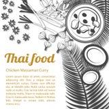 Nakreślenie Tajlandzki Karmowy menu Massaman [Nawracający] fotografia stock
