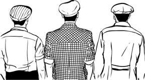 Nakreślenie trzy mężczyzna w nakrętkach obracać z powrotem Zdjęcia Stock