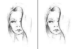 Nakreślenie twarzy dziewczyna również zwrócić corel ilustracji wektora Zdjęcie Royalty Free
