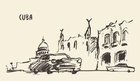 Nakreślenie ulicy w Kuba również zwrócić corel ilustracji wektora ilustracji