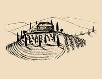 Nakreślenie willa, chłopa dom w polach Wektorowa wiejska krajobrazowa ilustracja Ręka rysująca śródziemnomorska farma royalty ilustracja