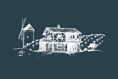Nakreślenie wioska z wiatraczkiem, polami i chłopa domem, Wektorowa wiejska krajobrazowa ilustracja ilustracji