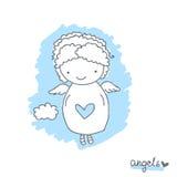 Nakreślenie z ślicznym aniołem Zdjęcie Stock