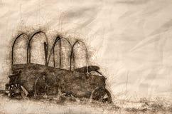 Nakreślenie Zakrywający furgon Przy The Edge pustynia ilustracja wektor