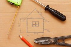 Nakreślenie budynku plan Zdjęcia Royalty Free