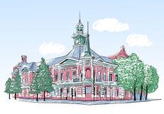 Nakreślenie ilustracja stary miasto budynku wektor ilustracji