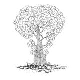 Nakreślenie jeden drzewa wektor ilustracji