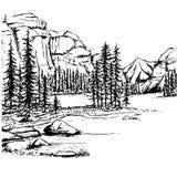 Nakreślenie jezioro i las Obrazy Stock