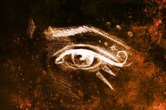 Nakreślenie kobiety oko z brwi i makeup ornamentami, rysuje na abstrakcjonistycznym tle Obraz Stock