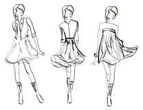 NAKREŚLENIE. mody dziewczyna. Obrazy Royalty Free