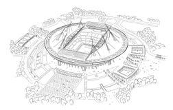 Nakreślenie nowy stadium na Krestovsky wyspie Fotografia Royalty Free