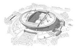 Nakreślenie nowy stadium na Krestovsky wyspie Obraz Royalty Free