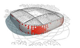 Nakreślenie nowy stadium w Moskwa Zdjęcia Royalty Free