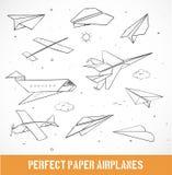 Nakreślenie papierowi samoloty Obraz Stock