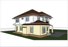 Nakreślenie projekt dom, wektor Zdjęcia Royalty Free