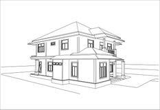 Nakreślenie projekt dom, wektor Obraz Stock
