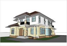 Nakreślenie projekt dom, wektor Obrazy Royalty Free